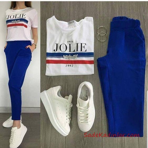 2019 Spor Ayakkabı Kombinleri Saks Mavi Cepli Pantolon Beyaz Tişört Beyaz Spor Ayakkabı