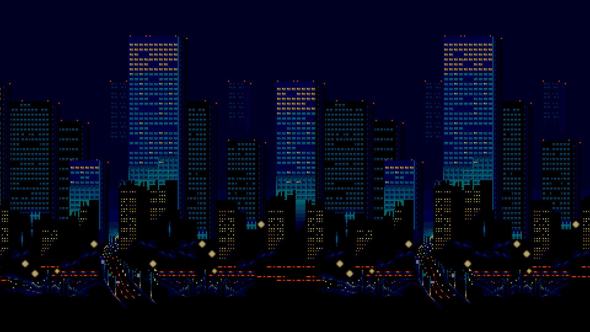 16 Bit Streets Of Rage City Night Skyline Sega Pixel Art Urban 1080p Wallpaper Hdwallpaper Desktop Pixel Art Digital Art Fantasy Pixel