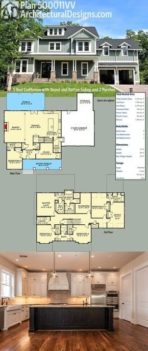 Plan 500011VV: 5 Bed Craftsman with Board and Batten Siding and 2 ...