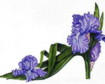 Handpainted Pink Coneflower Slipper Needlepoint Canvas by colors1
