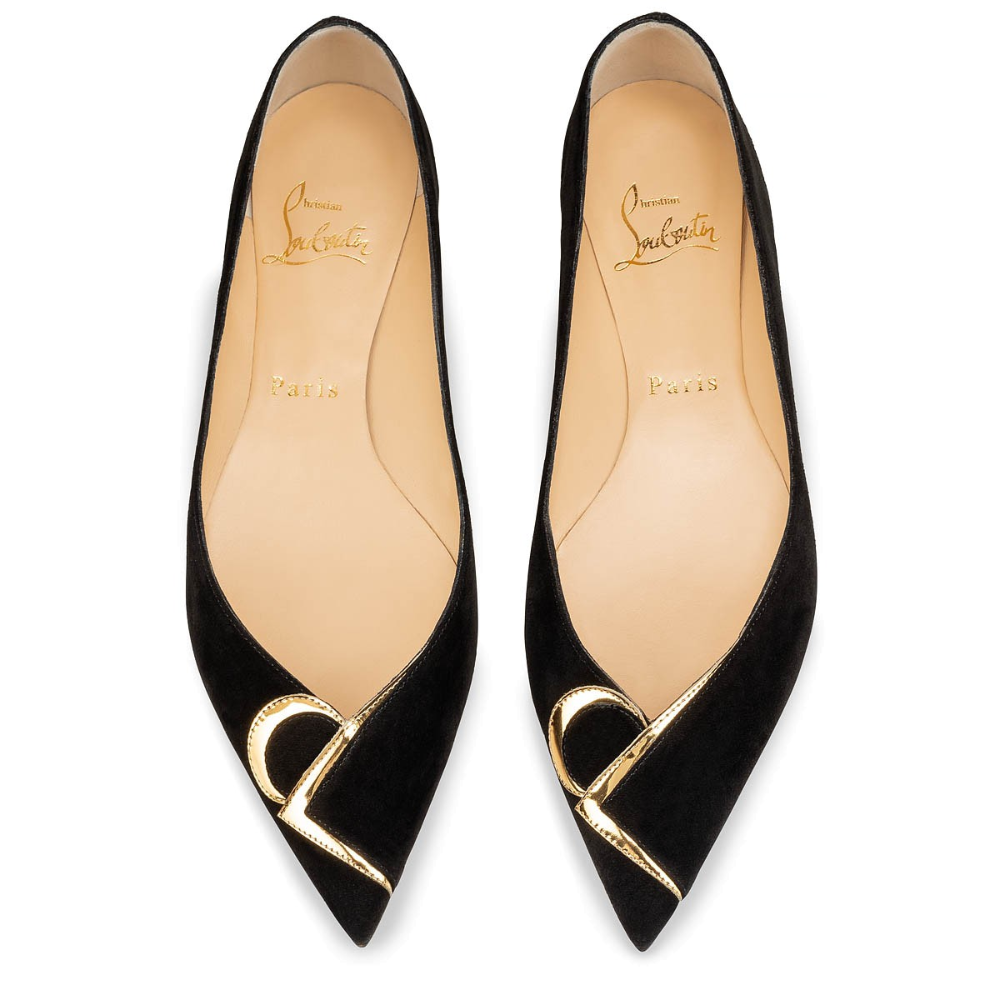 CL PUMP BLACK/GOLD VEAU VELOURS – Women Shoes – Christian Louboutin