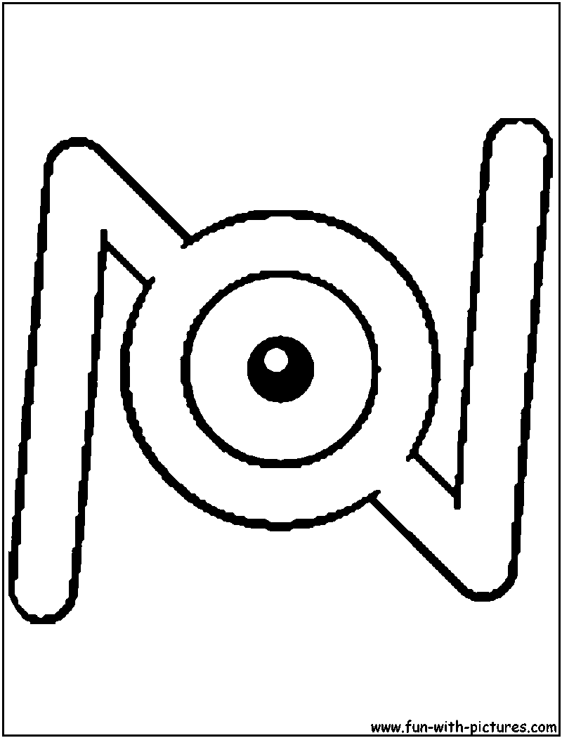Unown N Coloring Page | unown | Pinterest