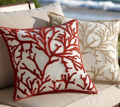 Pottery Barn Branch Coral Embroidered Outdoor Pillow