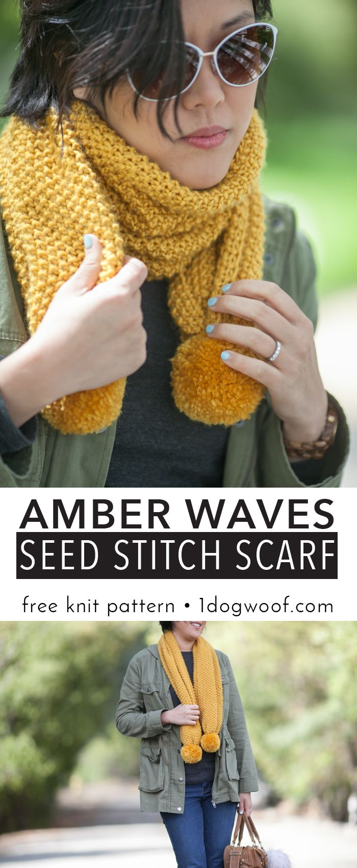 Amber Waves Seed Stitch Scarf Simple Knit   Seed stitch, Free ...