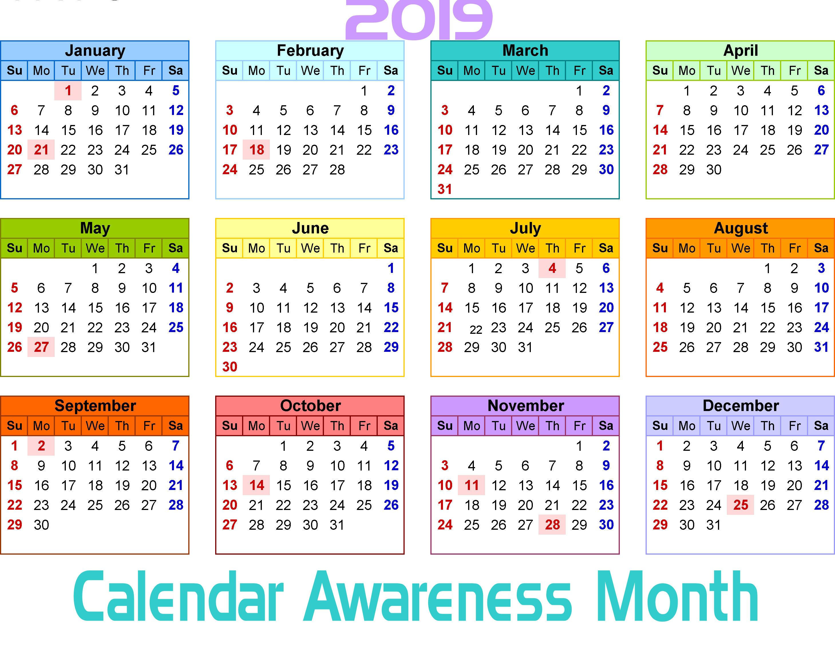 Monthly Awareness Calendar 2019 December is Calendar Awareness Month | Celebrate in 2019