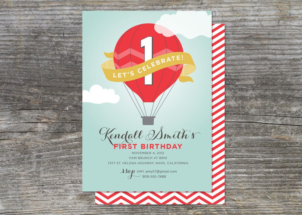 Hot Air Balloon Birthday Party Invitation Up Up And Away