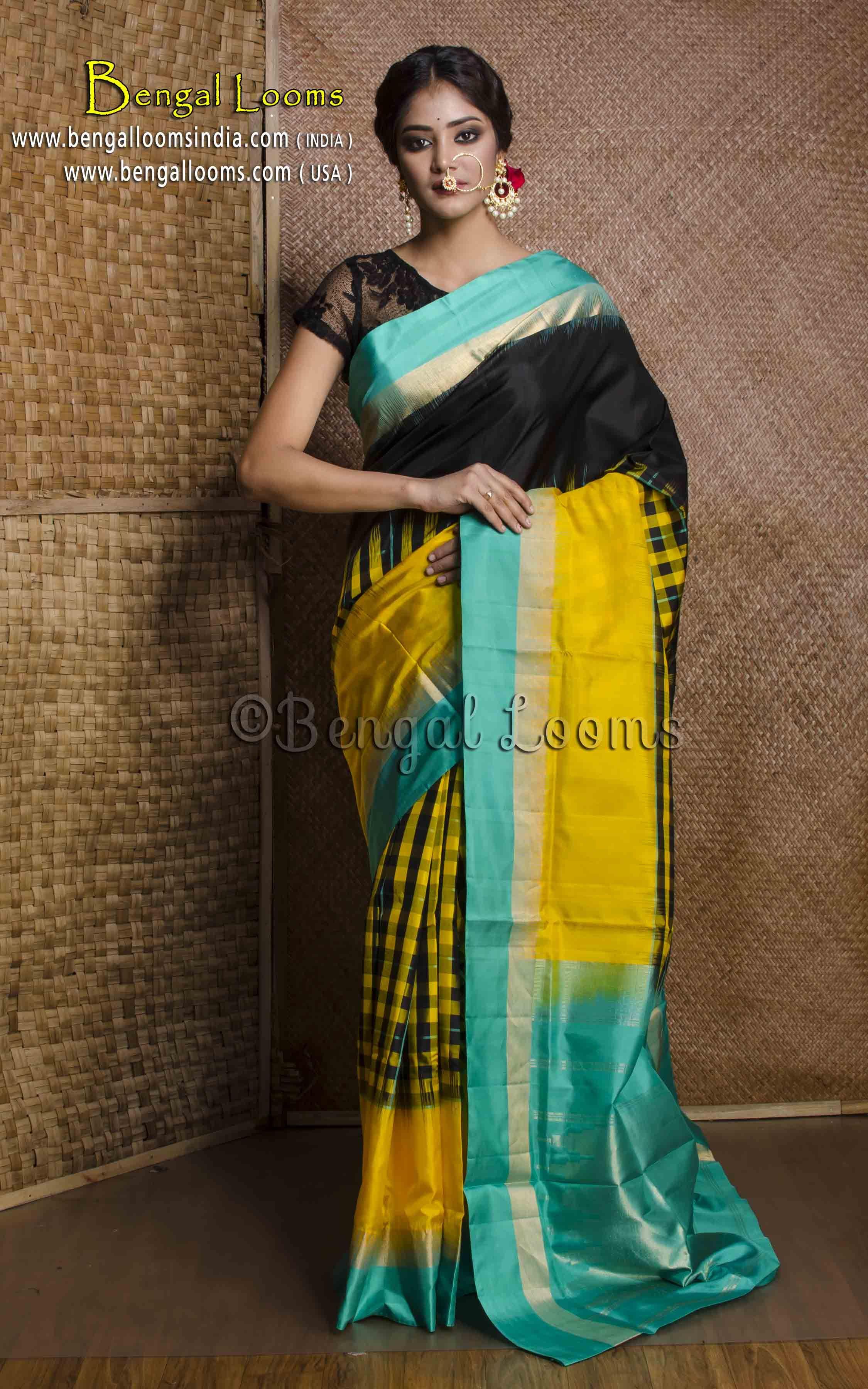 1e563e2b7b Pure Handloom Pochampally Silk Saree in Black, Yellow and Mint Green ...