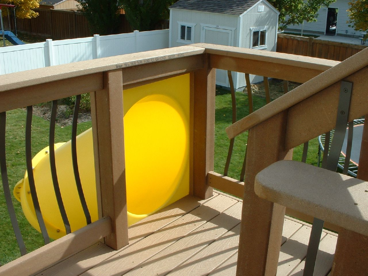 Kid\'s slide from a second story deck. Easy to install and you don\'t ...