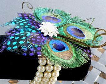 Peacock pearl wrist corsage, Customizable