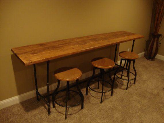 Reclaimed Wood Black Pipe CounterHeight Table/Bar on Etsy, $875.00 - Reclaimed Wood Black Pipe CounterHeight Table/Bar On Etsy, $875.00