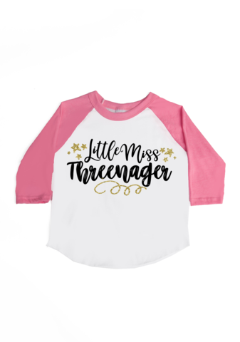 4d803dd09 Little Miss Threenager birthday shirt perfect for your little 3 year old.  Grab your tee + 15% off at www.vazzietees.com [use code: PINTEREST15]