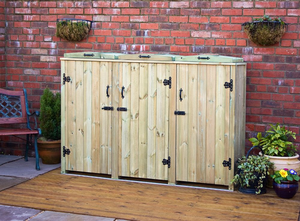 wheelie bin store three bin storage screens 3 wheelie bins from sight garden gifts direct. Black Bedroom Furniture Sets. Home Design Ideas