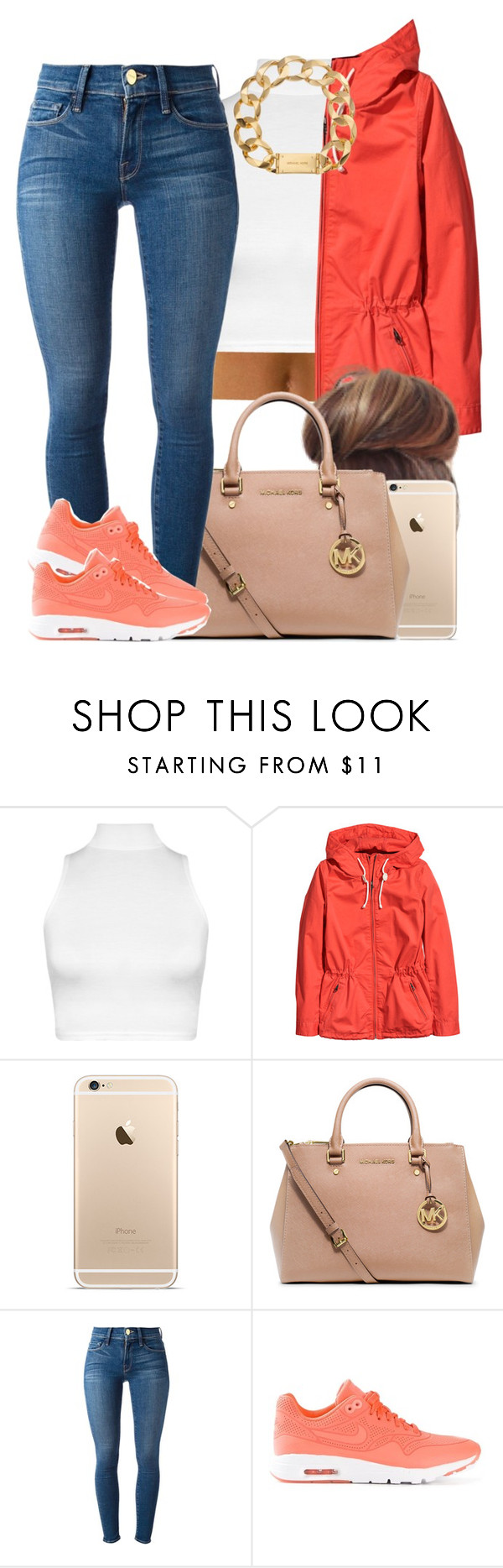 """""""When you lowkey miss fall..."""" by livelifefreelyy ❤ liked on Polyvore featuring moda, WearAll, H&M, MICHAEL Michael Kors, Frame Denim, NIKE y Michael Kors"""