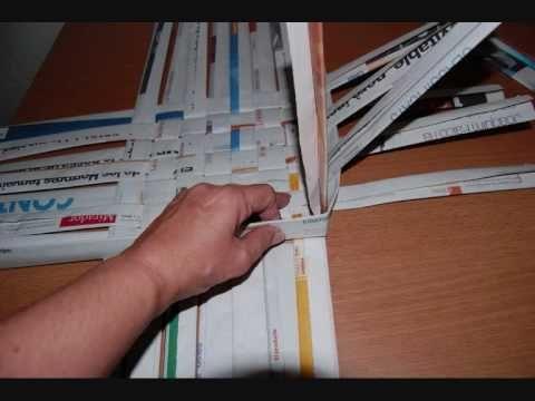 Como hacer cestas de papel de periodico cosas que adoro - Cesta de papel de periodico ...