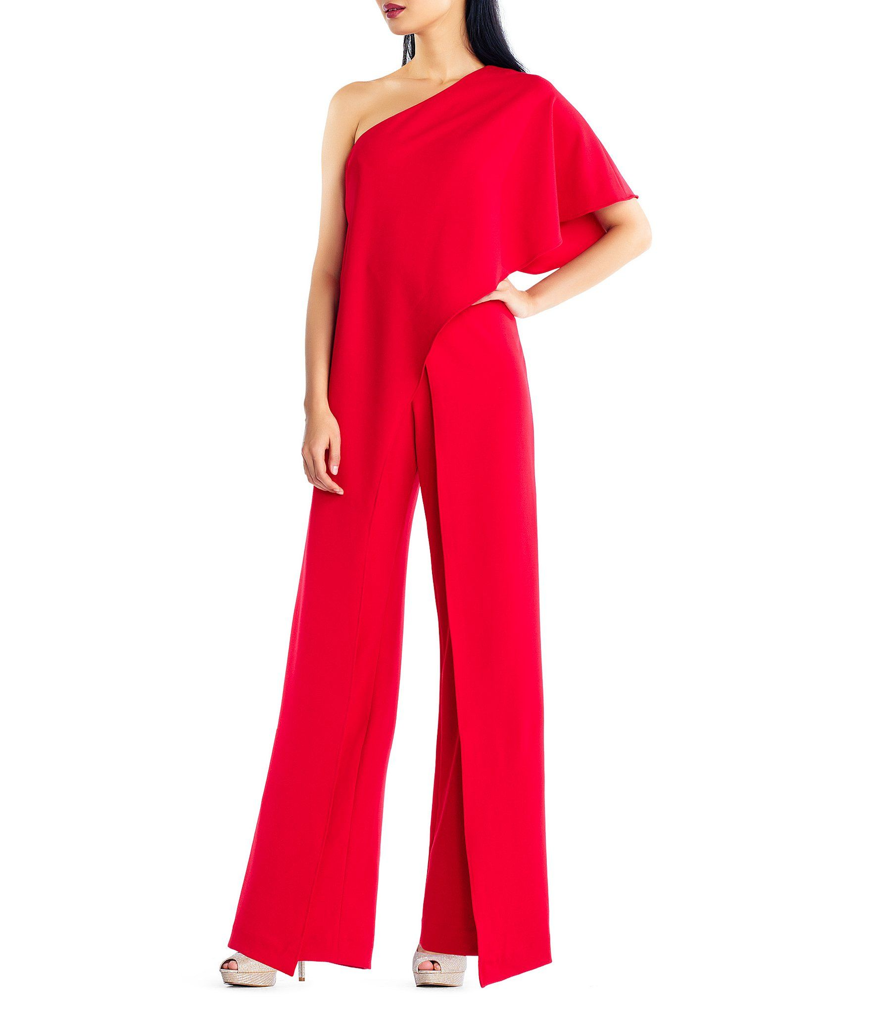 a16a90992cc3f Adrianna Papell Crepe One Shoulder Jumpsuit  Dillards