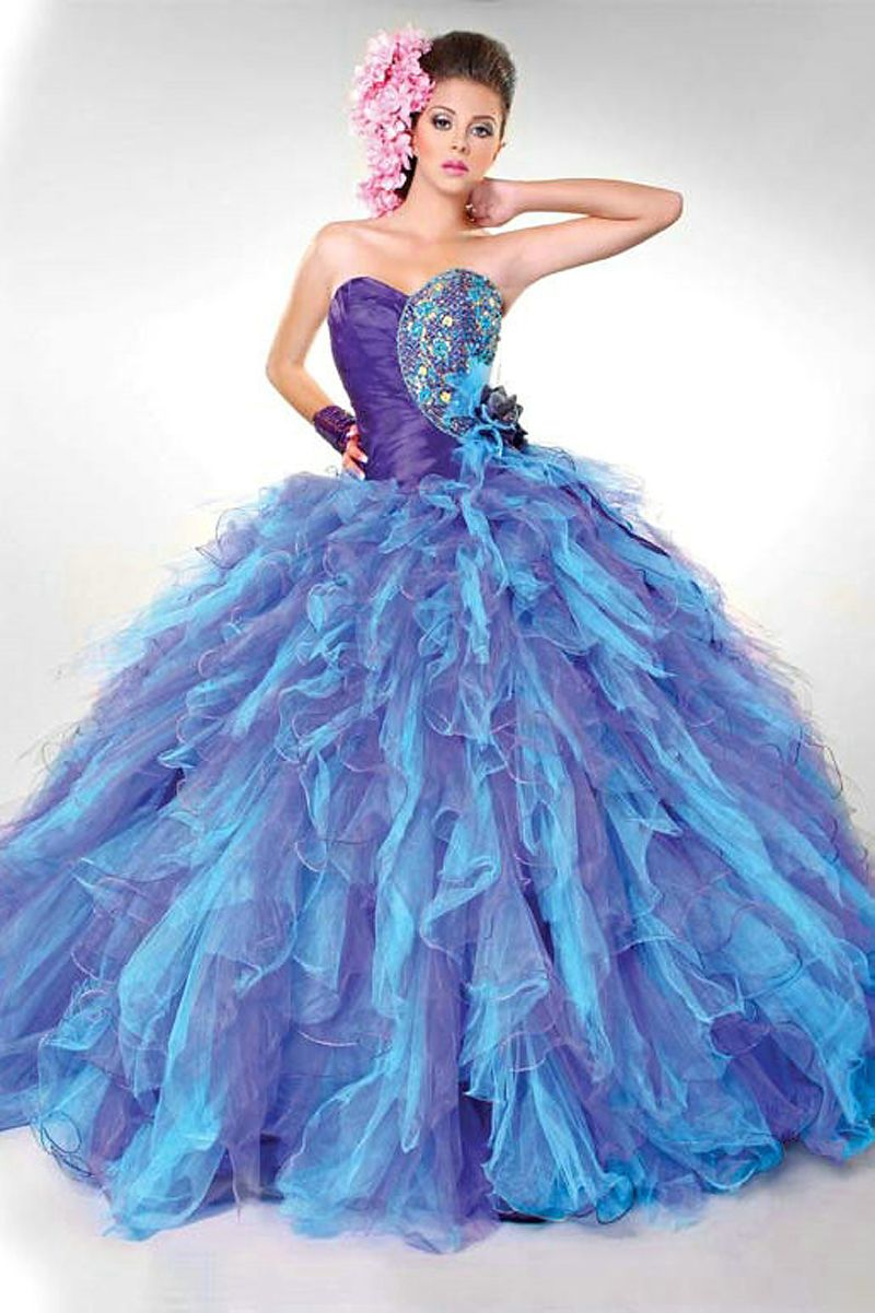 MZ0718 Strapless Ball Gown Blue and Purple Beaded Organza/Tulle ...