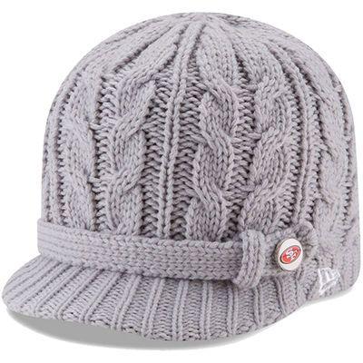 Women s San Francisco 49ers New Era Gray Button Blast Knit Beanie ... 8c66cf139
