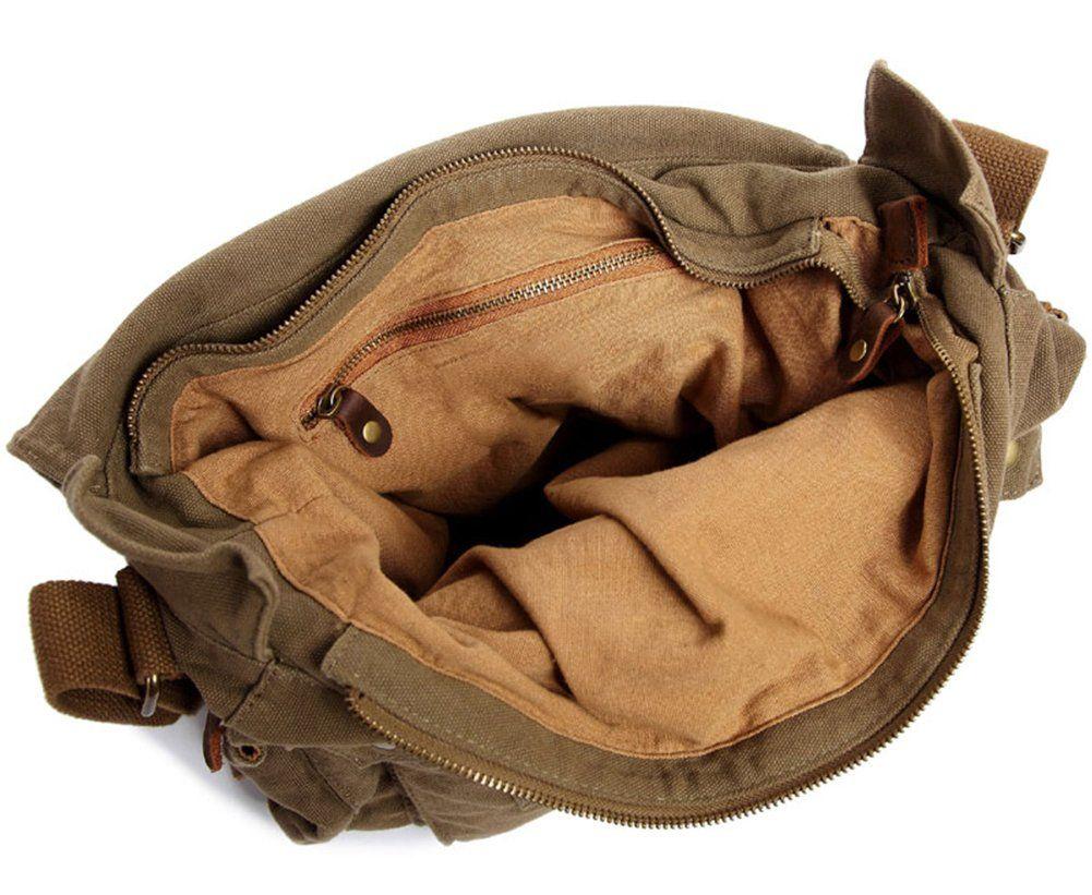 Kattee British Style Retro Mens Canvas + Leather Messenger Traval Shoulder Bag Fits 15 Inch Laptop (Dark Gray): Amazon.co.uk: Clothing
