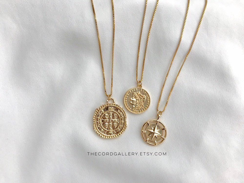 Gold Coin Necklace 18k Gold Filled Medallion Necklace Athena Etsy Gold Coin Necklace Compass Necklace Coin Necklace