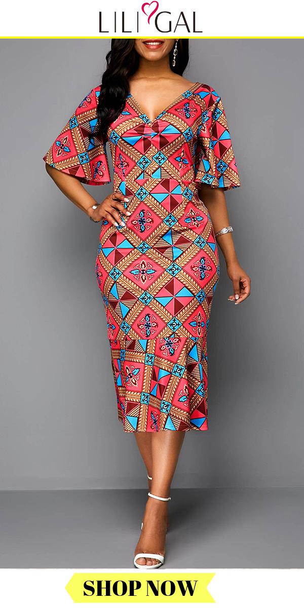 USD33.17  Red V Neck Side Zipper Tribal Print Butterfly Sleeve Midi Dress #africanfashion