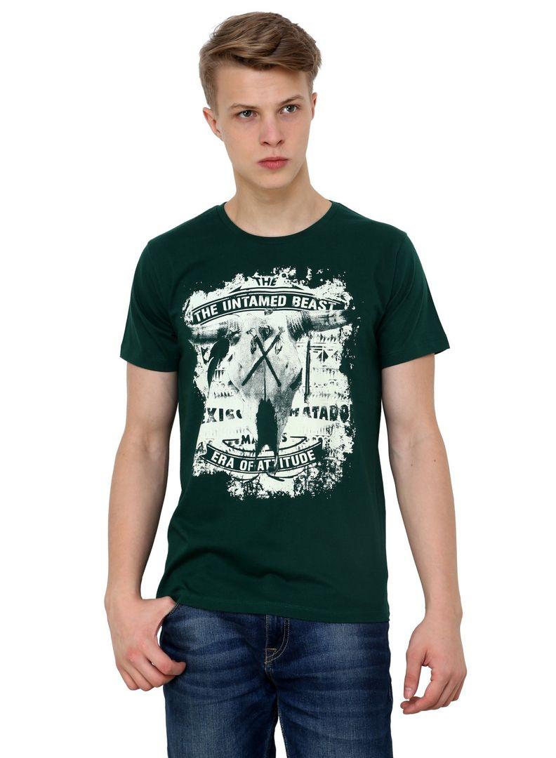 Black t shirt jabong - Bull Skull Tribal Red Indian Round Neck Half Sleeve Black Single Jersey Green Cotton T