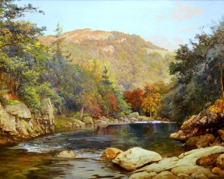Canadian autumn river mountain canada landscape canvas