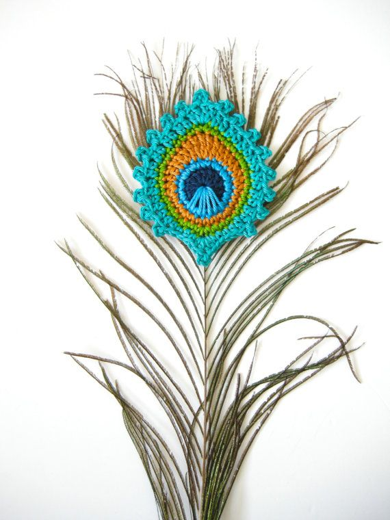 Crochet PATTERN Peacock Feather BOOKMARK and Motif \