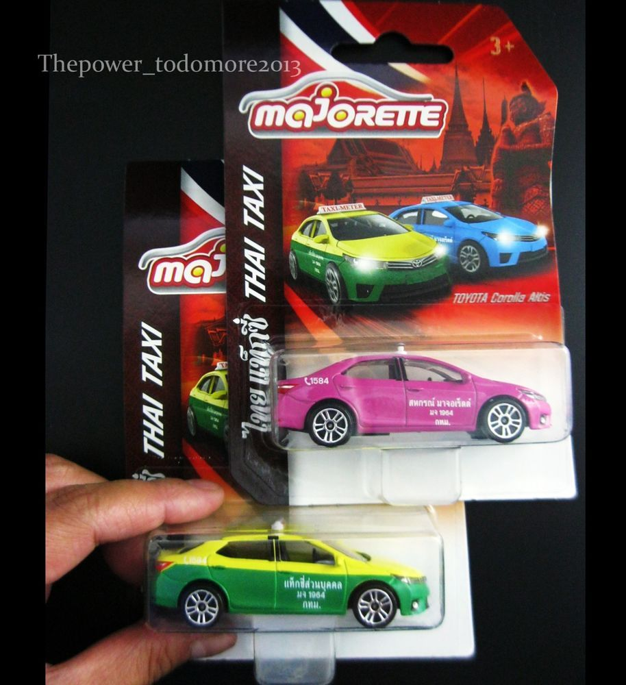 Majorette 2 Toy Car Thai Taxi Cab Toyota Corolla Altis Diecast 1:61 ~  Exclusive