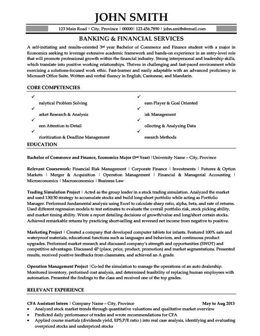 Banking And Financial Services Resume Template  Premium Resume