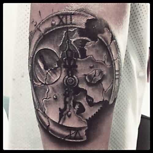 Broken Clock Realistic Tattoo With Images Broken Clock Tattoo