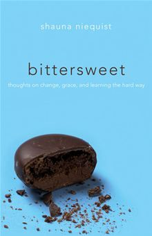 bittersweet by shauna niequist... Enjoying this book.  Easy to pick up when you just have a few extra minutes