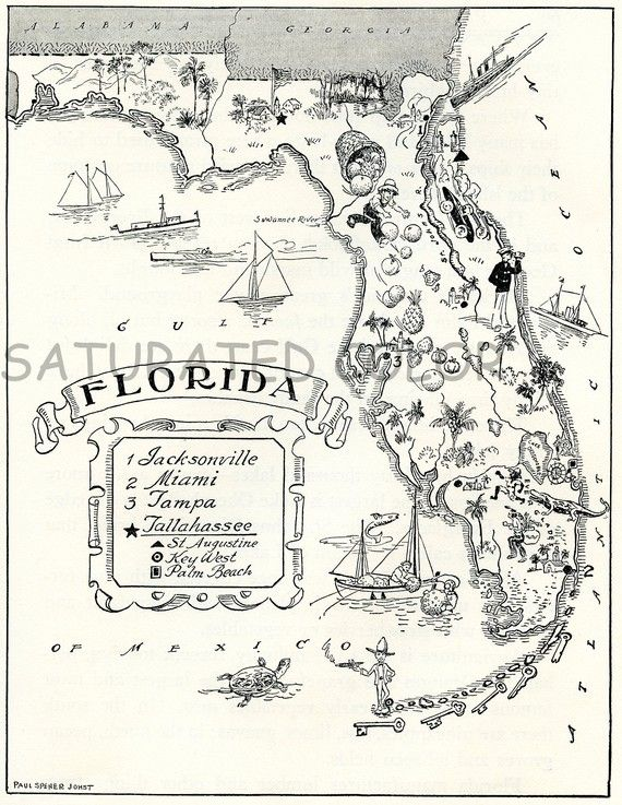 Old Florida Maps.Florida Map A Delightfully Amusing Original Vintage Picture Map
