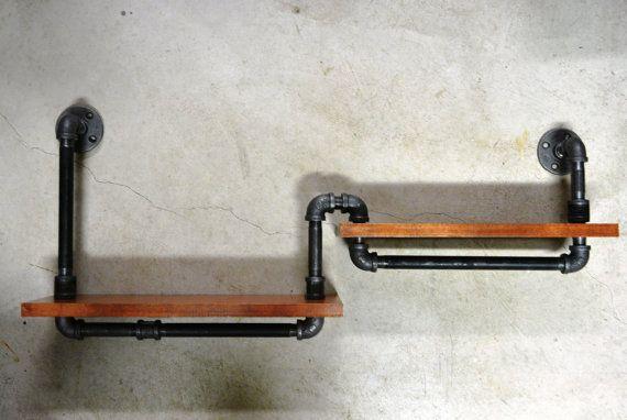plumbing pipe double book shelf sous sol tuyau. Black Bedroom Furniture Sets. Home Design Ideas