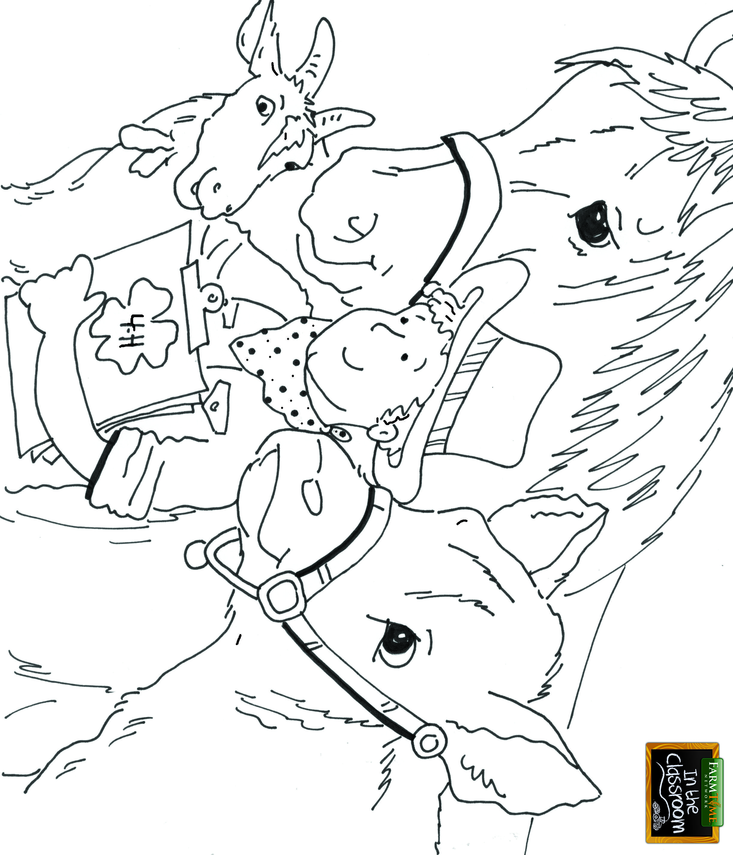Www Farmtimeclassroom Com Free Coloring Page 4h Horses Cows