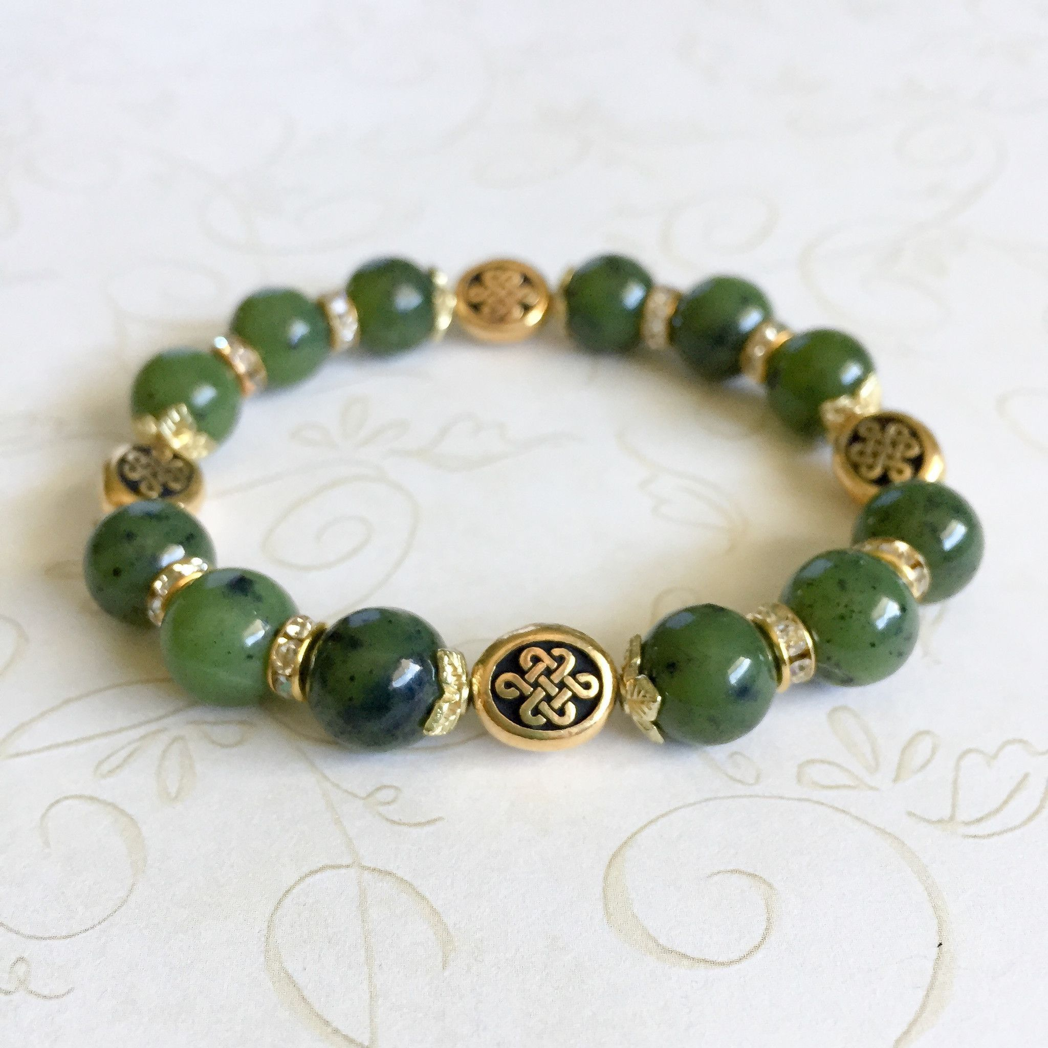 Jade Celtic-inspired Stretch Stacking Bracelet | Handmade jewelry ...