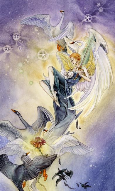 Page of Swords, Shadowscapes Tarot:  Vigilance, honesty and truthfulness, scrutiny of beliefs, a strong sense of purpose.