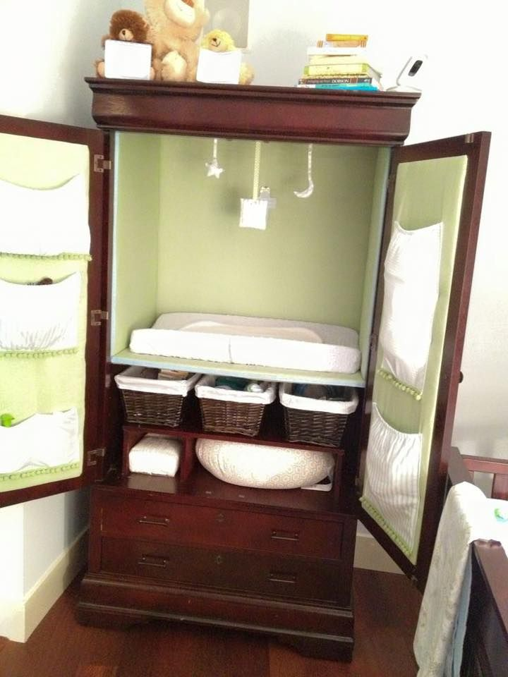 TV Armoire Refurbished into a Changing Table with Storage