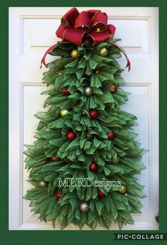 Corona de árbol de Navidad, corona de Navidad, decoración de Navidad, corona de la puerta principal, corona hecha a mano, corona de árbol iluminada, colgante de puerta del árbol  MUCHOS MISSED OUT EN 2018! Por lo tanto, voy a ofrecer estos años! NUMERO LIMITADO DISPONIBLE PARA EL RESTO DE 2019!!!