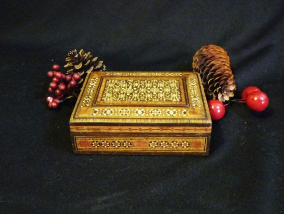 Vintage DAMASCENE Inlaid MOROCCAN BOX with Teak wood lining