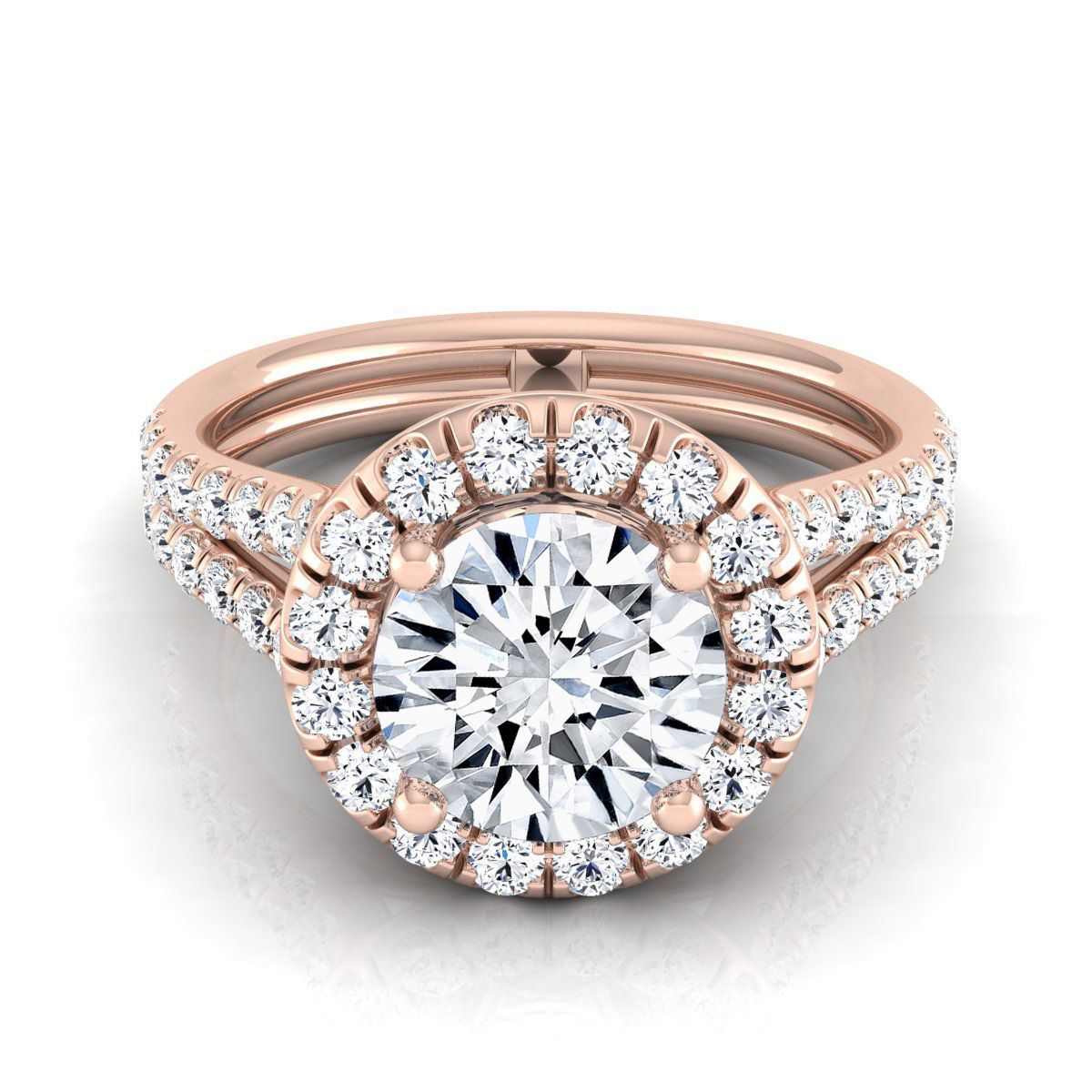 14k Rose Gold IGI-certified 1 2/3ct TDW Round Diamond Halo Engagement Ring With A Split Shank (H-I,VS1-VS2) (Size - 12), Women's