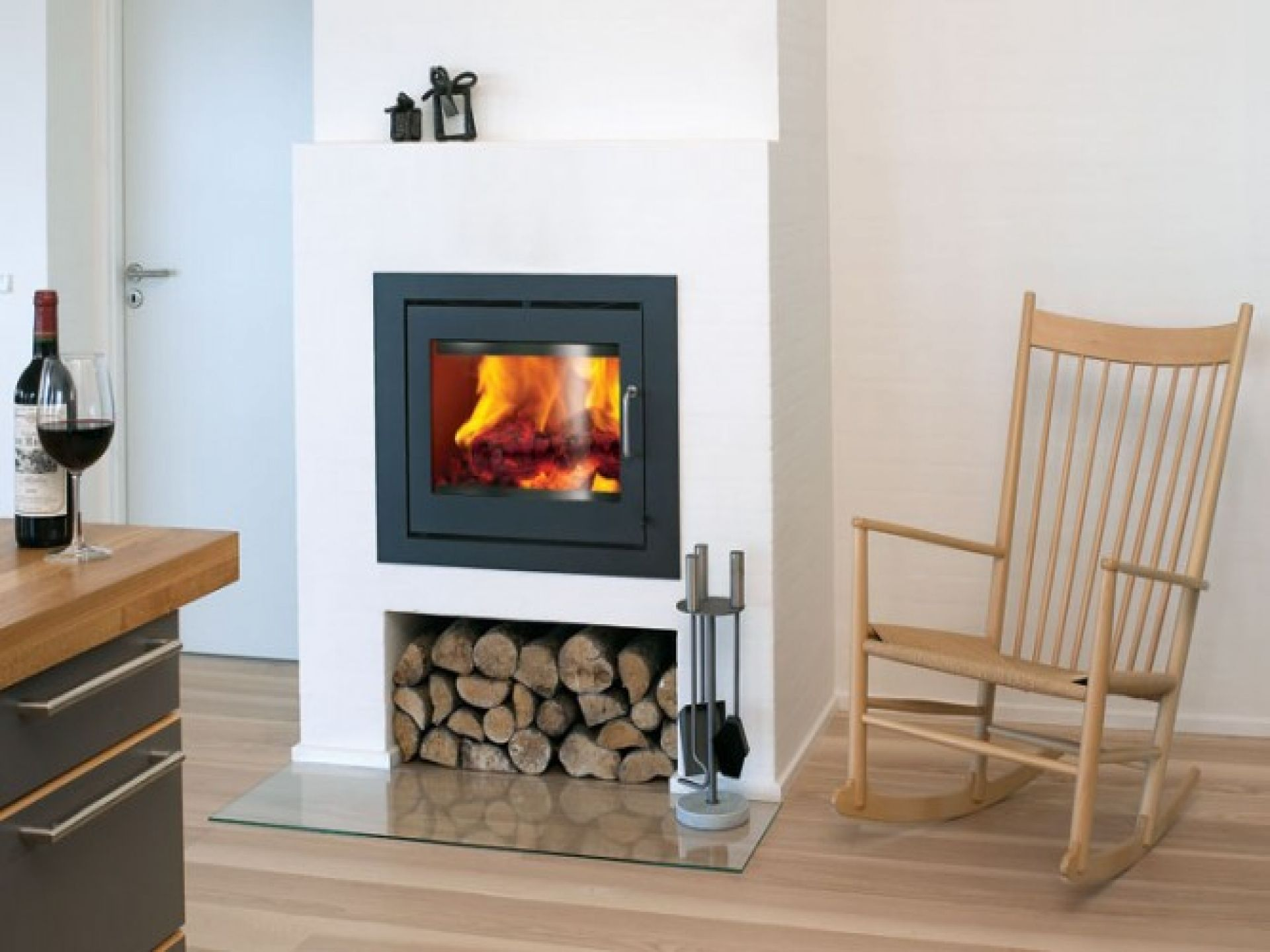 beautiful contemporary wood fireplace insert #3: contemporary wood burning fireplaces | Wood Burning Fireplace Inserts  Reviews Modern Wood With Classic Chair .