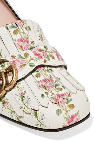 6008b997a Gucci - Marmont Fringed Floral-print Loafers - White | Products