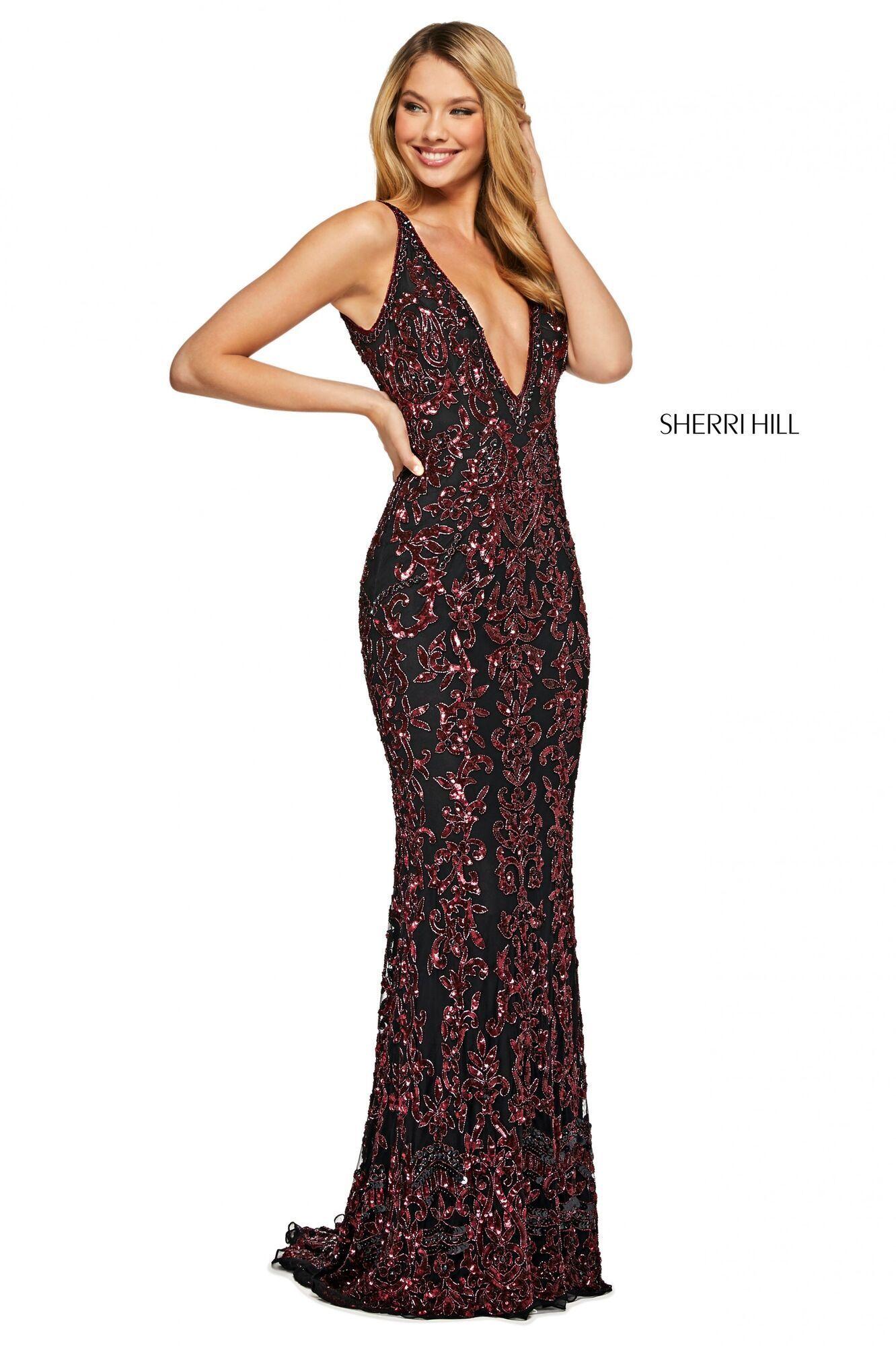 Sherri Hill - 52342 Beaded Lace Deep V-neck Long A-line