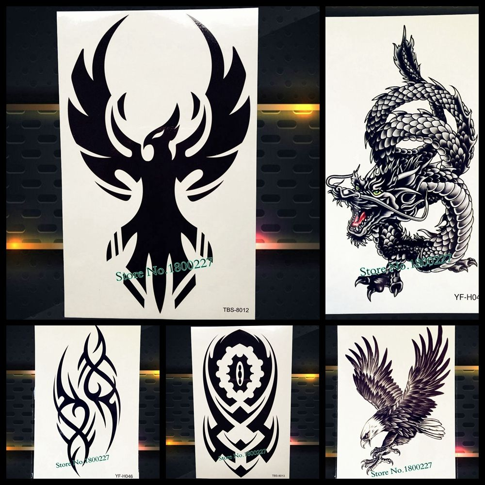 4199ad0f6 25 Black Eagle Temporary Tattoo Totem Waterproof Fake Flash Tattoo Inspired  Totem Men Body Art Arm