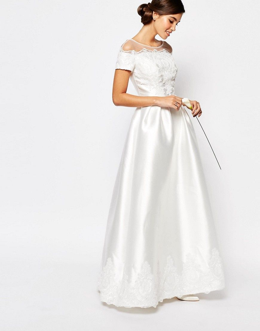 Cheap wedding dresses with sleeves  Chi Chi London Bridal Maxi Dress with Embroidery and Cap Sleeve