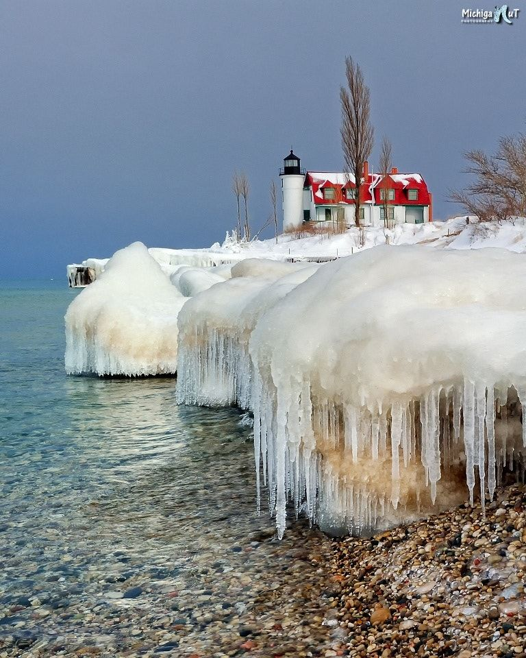 Icicle Beach - Melting icicle along the shores of Lake Michigan at Point Betsie Lighthouse.