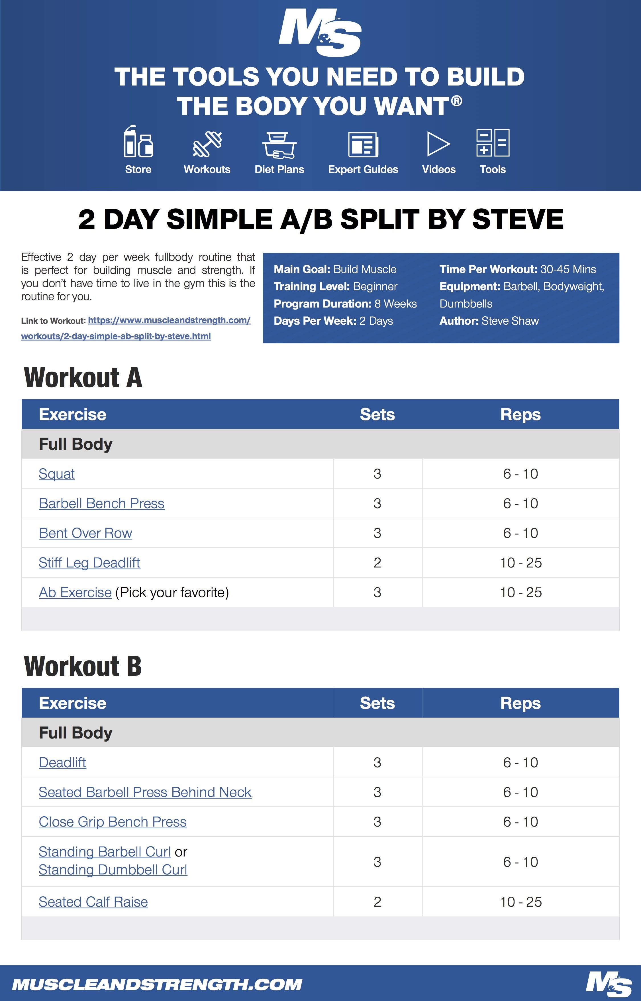 2 Day Simple A B Split By Steve Beginner Leg Workout Traps Workout Muscle Building Workouts