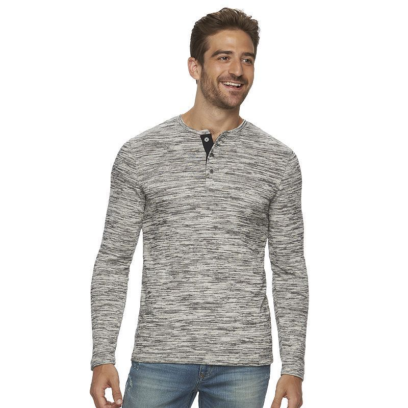 Men's Marc Anthony Slim-Fit Marled Textured Henley, Size: