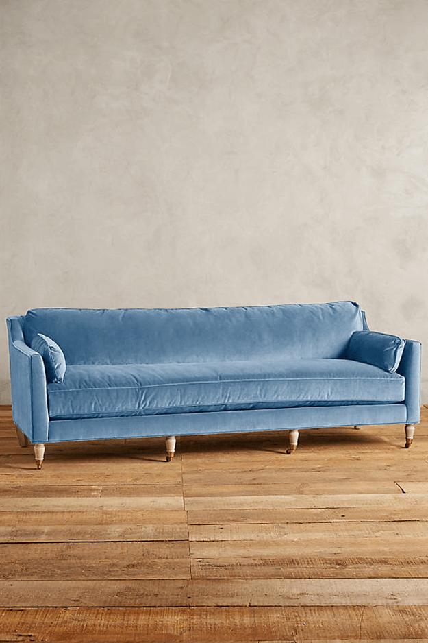 living room plan slate blue velvet sofa
