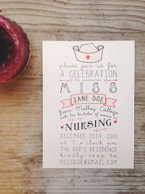 Nursing Graduation Party Invitation By Housemanpaperco On Etsy